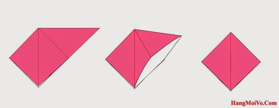 Bước 4: Lật ngược tờ giấy lại. Tương tự ta cũng mở lớp giấy từ bên trong ra ngoài rồi gấp lại (hình 2), tạo thành hình tứ giác đều (hình 3).
