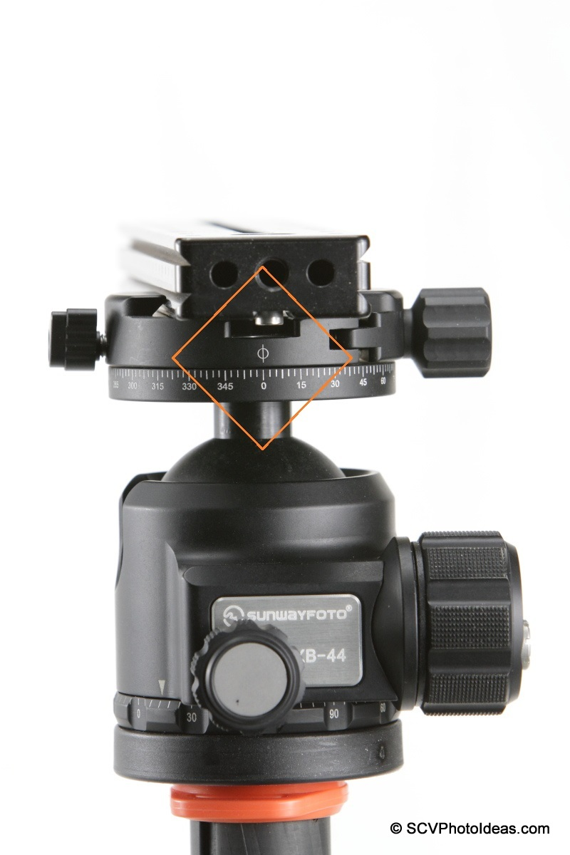 Sunwayfoto DDH-03 PC pan index mark detail