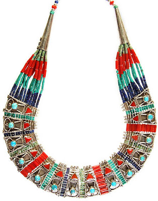 Ethnic Gemstone Necklace Coral Turquoise