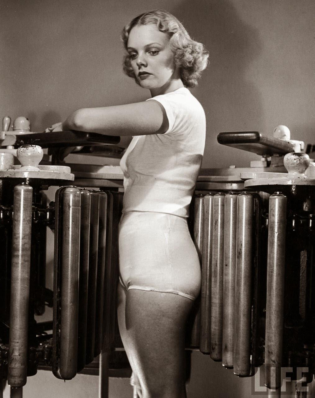 Model Pat Ogden at slenderizing salon, NY, 1940 ~ vintage ...