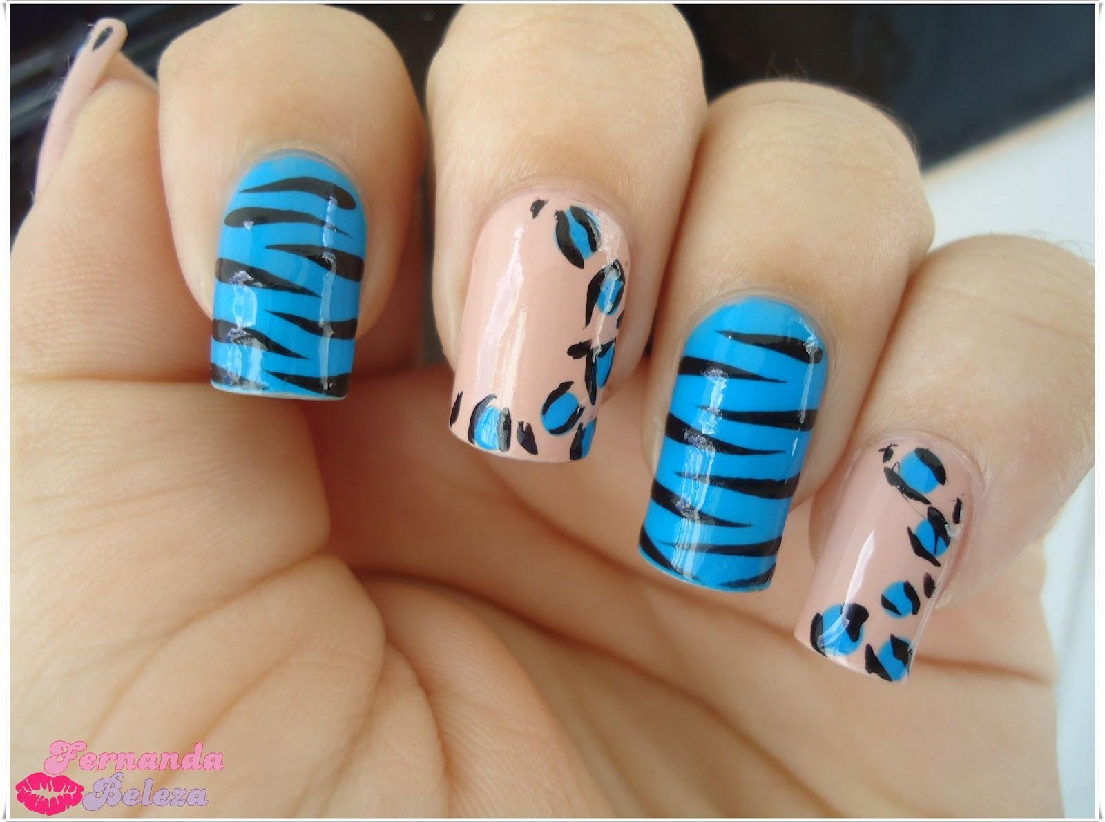 Fernanda beleza nail art animal print nude e azul for Decoracion cebra