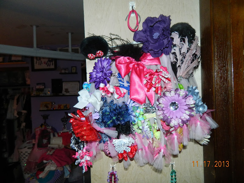 side of her shelving unit, next to the bathroom. (front side of tutu title=