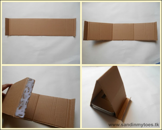 Instructions for making a cardboard phone stand.