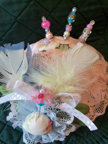 Another view of the Shabby Chic Pin Cushion with three stick pins