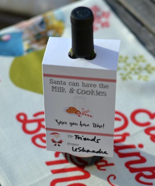 Santa themed wine bottle gift tag
