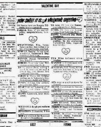 1976 Valentine small ads, Canberra Times