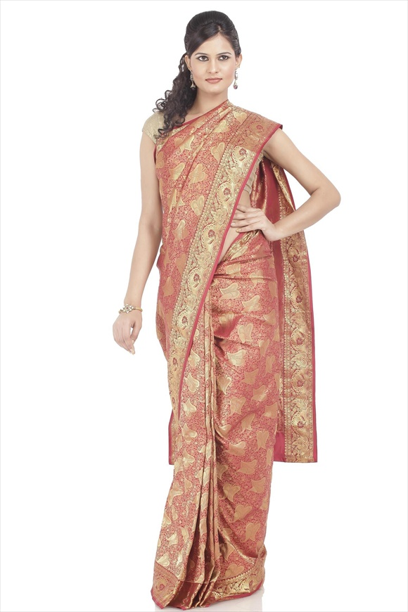 Cardinal Red Kattan Silk Banarasi Saree