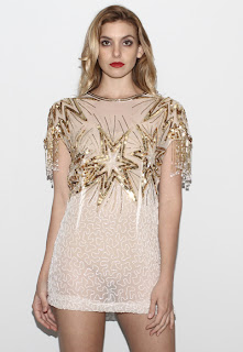 Vintage 1970's gold star beaded sheer mini cocktail dress with dangling embellished cap sleeves.
