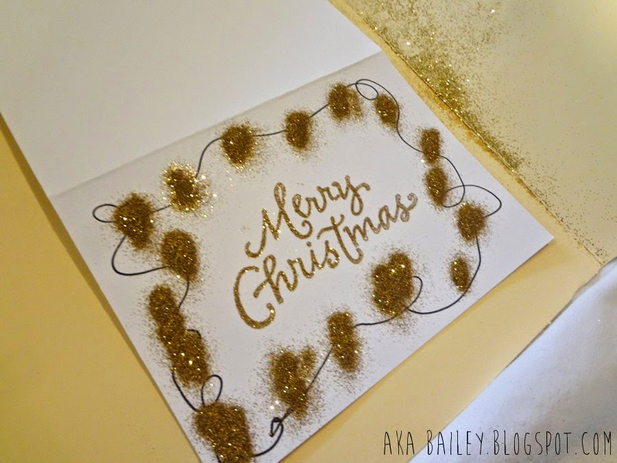 Using gold glitter on a Merry Christmas card