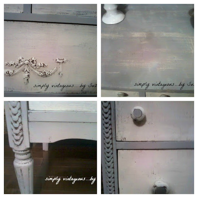 shabby, details,legs,knobs,gray,white,layering paint,dresser