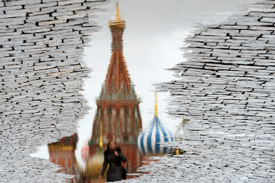 Women, Reflection, Puddle, Landmark, St.Basil, Cathedral, Red Square, Moscow, Offbeat, Water,