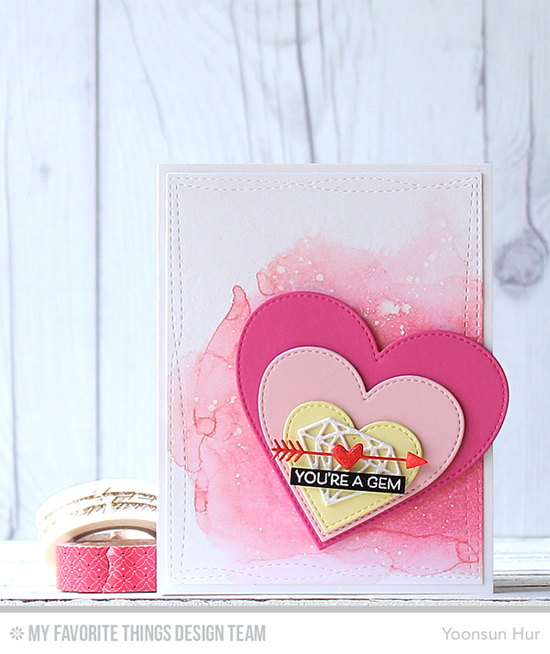 You're a Gem Card by Yoonsun Hur featuring the Bling It On stamp set, and the Diamonds, Stitched Heart STAX, Tag Builder Blueprints 5, and Wonky Stitched Rectangle STAX Die-namics #mftstamps