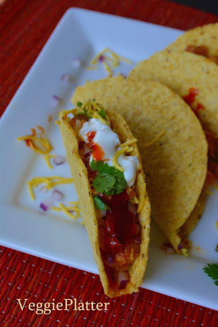 T ~ Taco Shells with Spicy Indian Style Filling