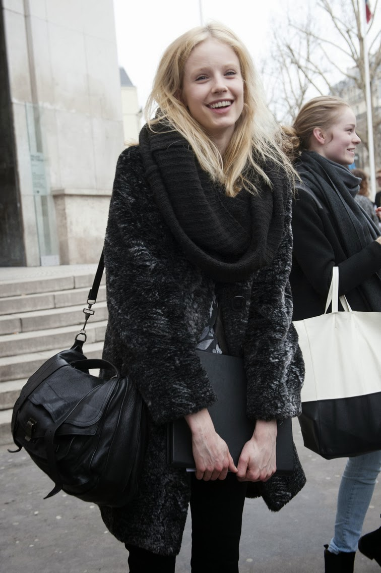 Black fur coat PS1 bag model off duty