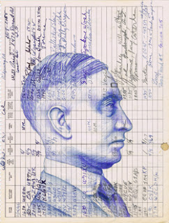 Radio Head #5, a contemporary portrait drawing in blue pencils by Natalie Schorr