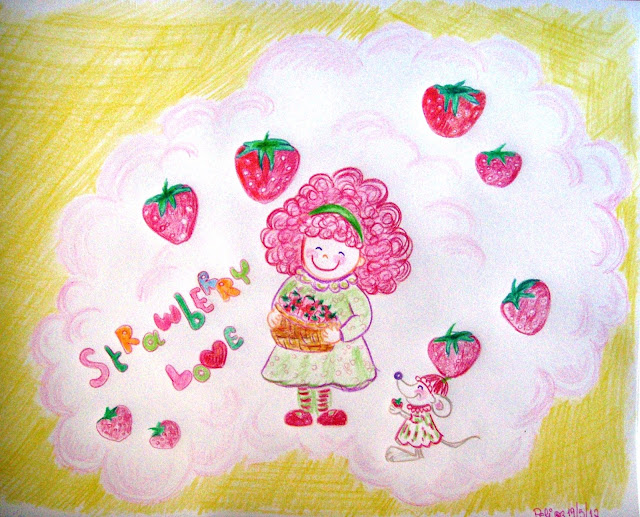 strawberry love coloured pencil drawing funny kid like