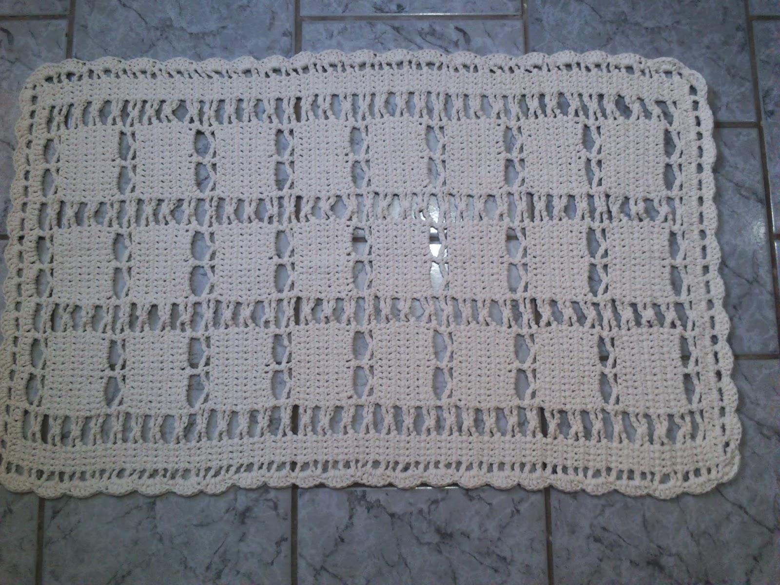 Dona Dalva Artesanatos Tapete de Crochê Simples -> Tapete Para Banheiro Croche Simples