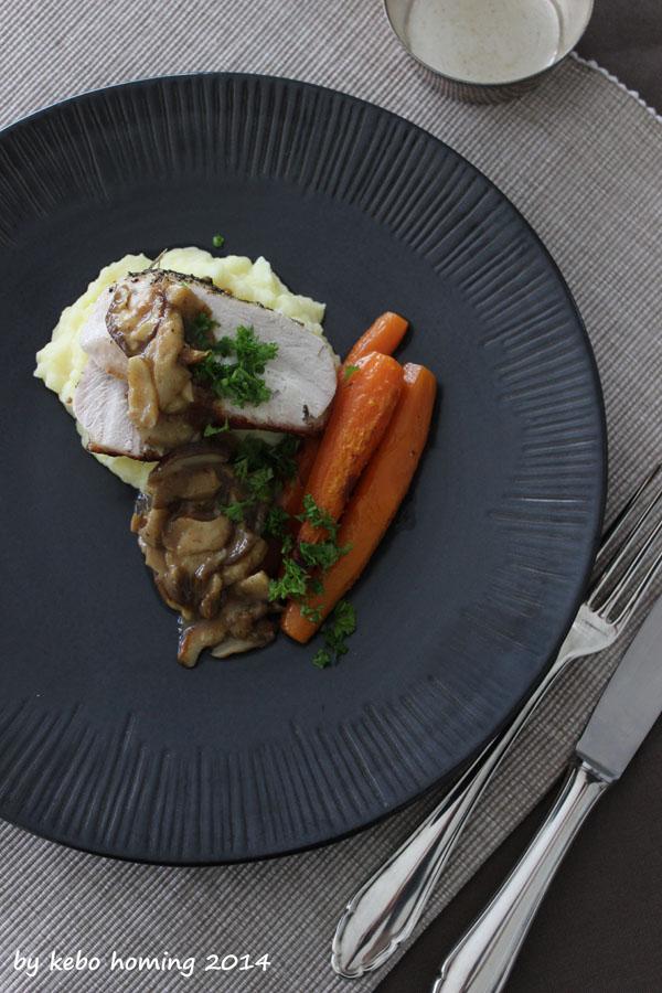 glasierte Karotten, Kartoffelstampf, Kartoffelbrei, Südtiroler Steinpilze, Pilzsoße, Truthahnbraten
