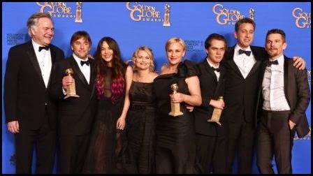 El equipo de Boyhood (Richard Linklater, 2014) en los Globos de Oro