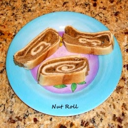 hungarian nut roll on pretty plate