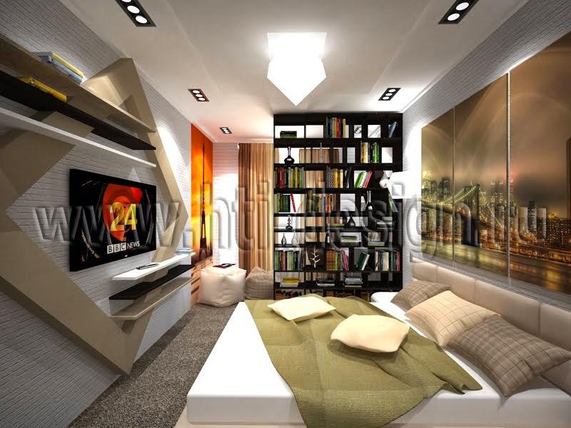 Спальня с рабочей зоной в 2-комнатной квартире