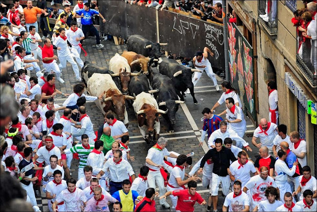 Running with Bulls in Spain