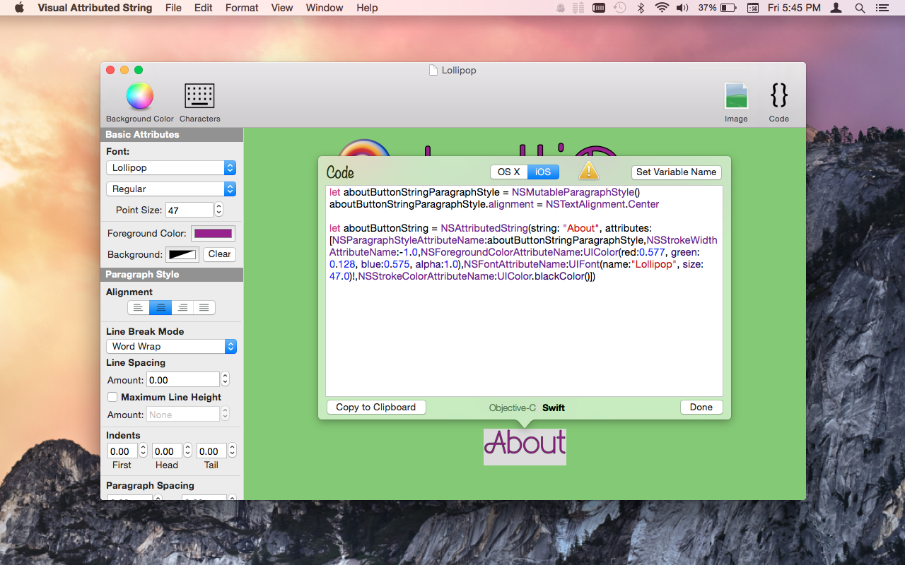 Visual Attributed String Mac app screenshot showing generated code in Swift with a unique variable named 'aboutButtonString'