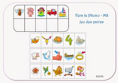 Phonologie MS Jeu des paires - travail sur les syllabes d'attaque