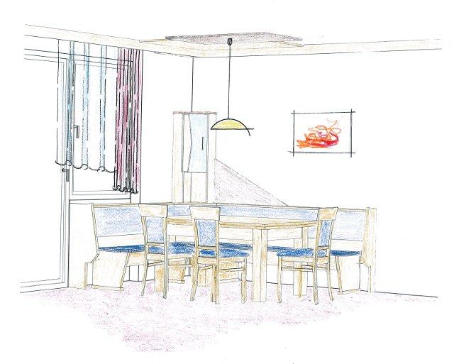 tagebuch der tischlerei slawitscheck zeichnung einer k che mit essgruppe. Black Bedroom Furniture Sets. Home Design Ideas
