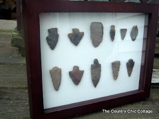 Diy framed arrowheads shadowbox the country chic cottage for Best place to get picture frames