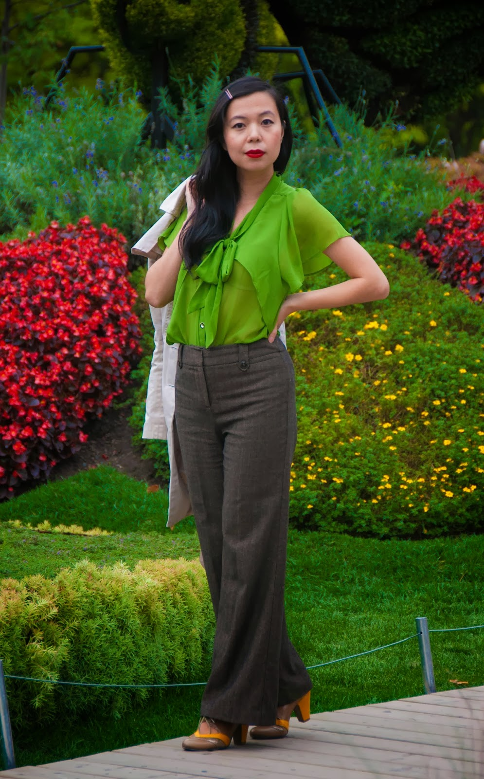 retro red lips bow blouse green trench coat brown tweed wool heels pumps yellow oxford