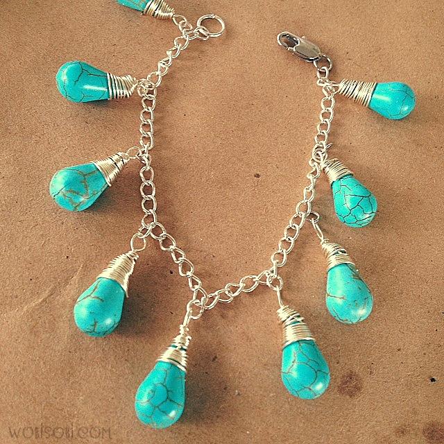 Teardrop Beads: WobiSobi: Turquoise, Teardrop Bead Bracelet: DIY