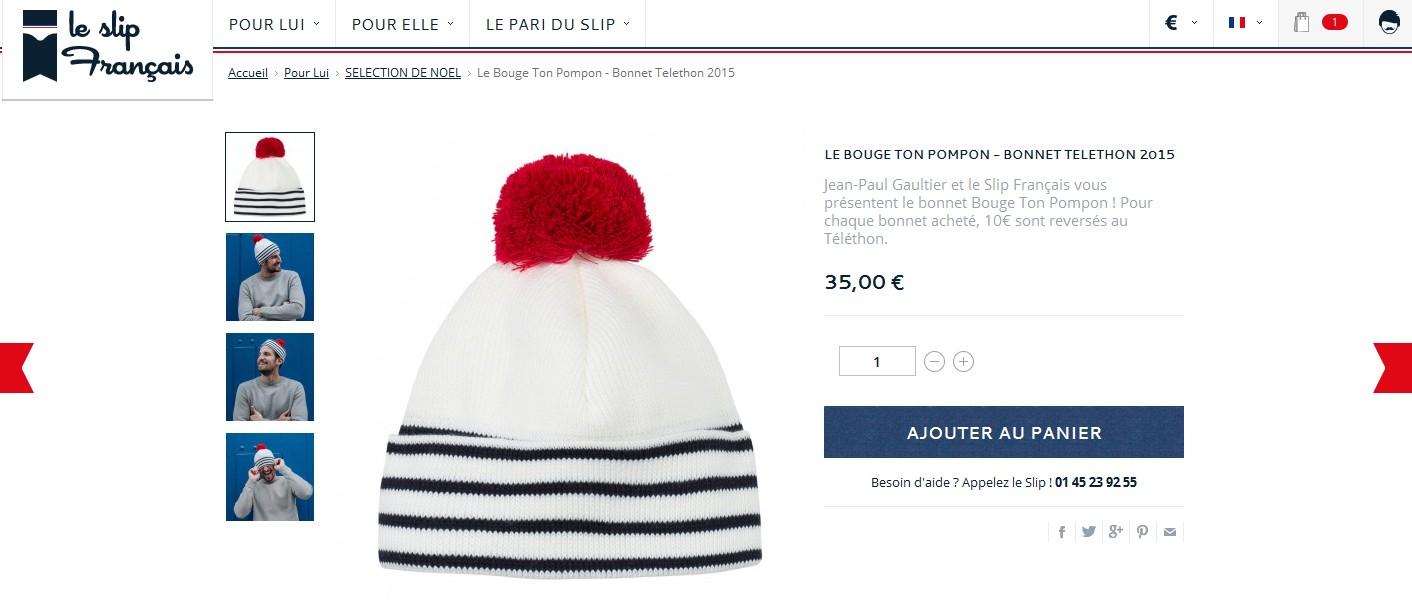 Jean Paul Gaultier en collaboration avec Le Slip Français ont crée ce bonnet  pour le Téléthon 2015. Particulièrement remarqué dans les scénographies de