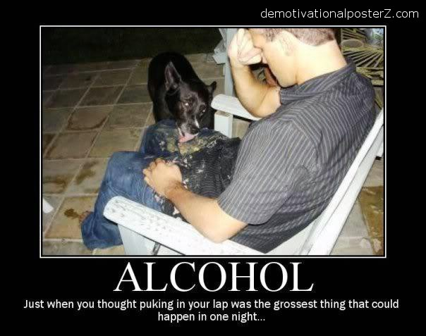 alcohol dog licks puke