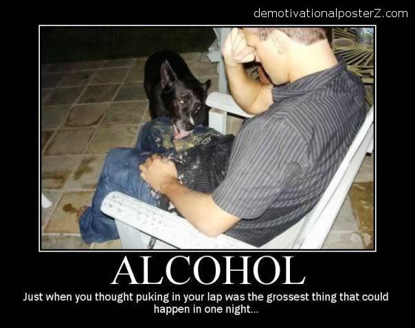 alcohol dog licks puke