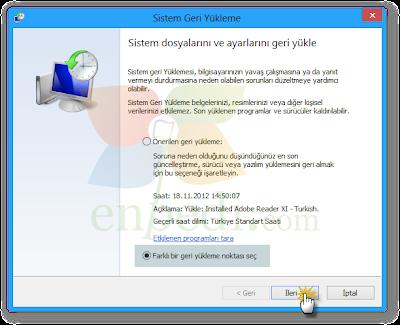 enpedi 15 10 35 Windows 8 Sistem Geri Yükleme Nasıl Yapılır