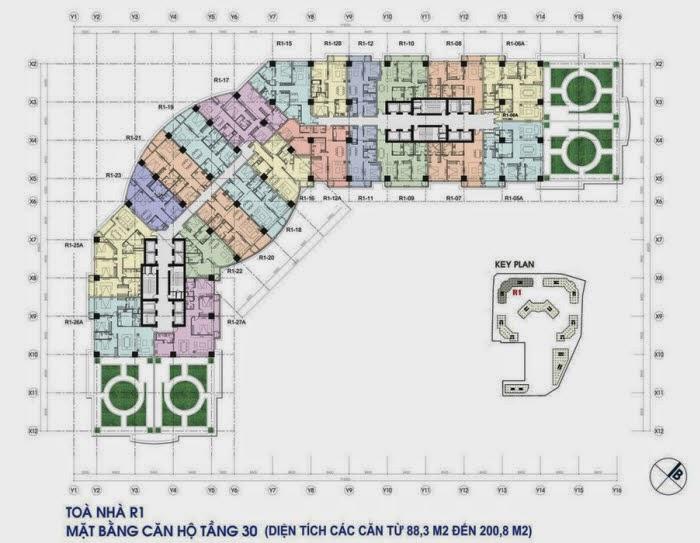 Kiến trúc toà R1 chung cư Royal City - mặt bằng tầng căn hộ điển hình tầng 30