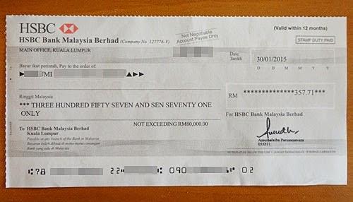 Cashout earning Nuffnang, hasil pendapatan berblog untuk menabung, menyimpan wang, melabur, kepentingan menyimpan wang, iklan blog Nuffnang dan Geniee SSP, gambar Cheque HSBC, doa murah rezeki