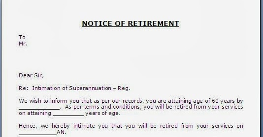 retirement notice letter to employee