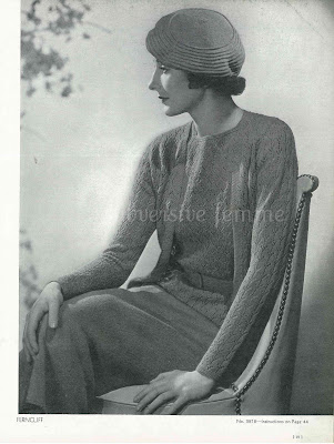 free knitting pattern for a Three Piece Suit & Beret from Minerva No.38 1934