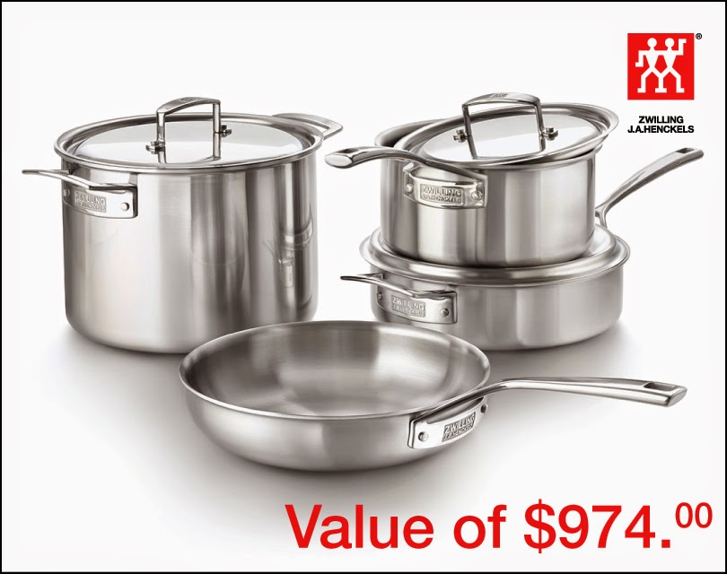 Zwilling Cookware Set Giveaway, ends 3/12