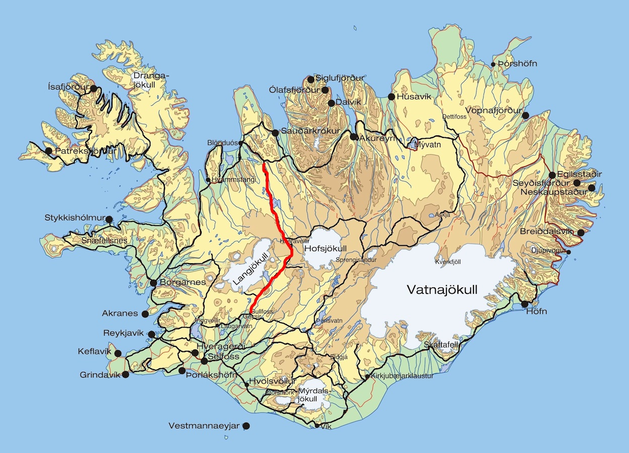 Iceland 24 Iceland Travel and Info Guide Kj lur highland route – Map Of Iceland Tourist Attractions