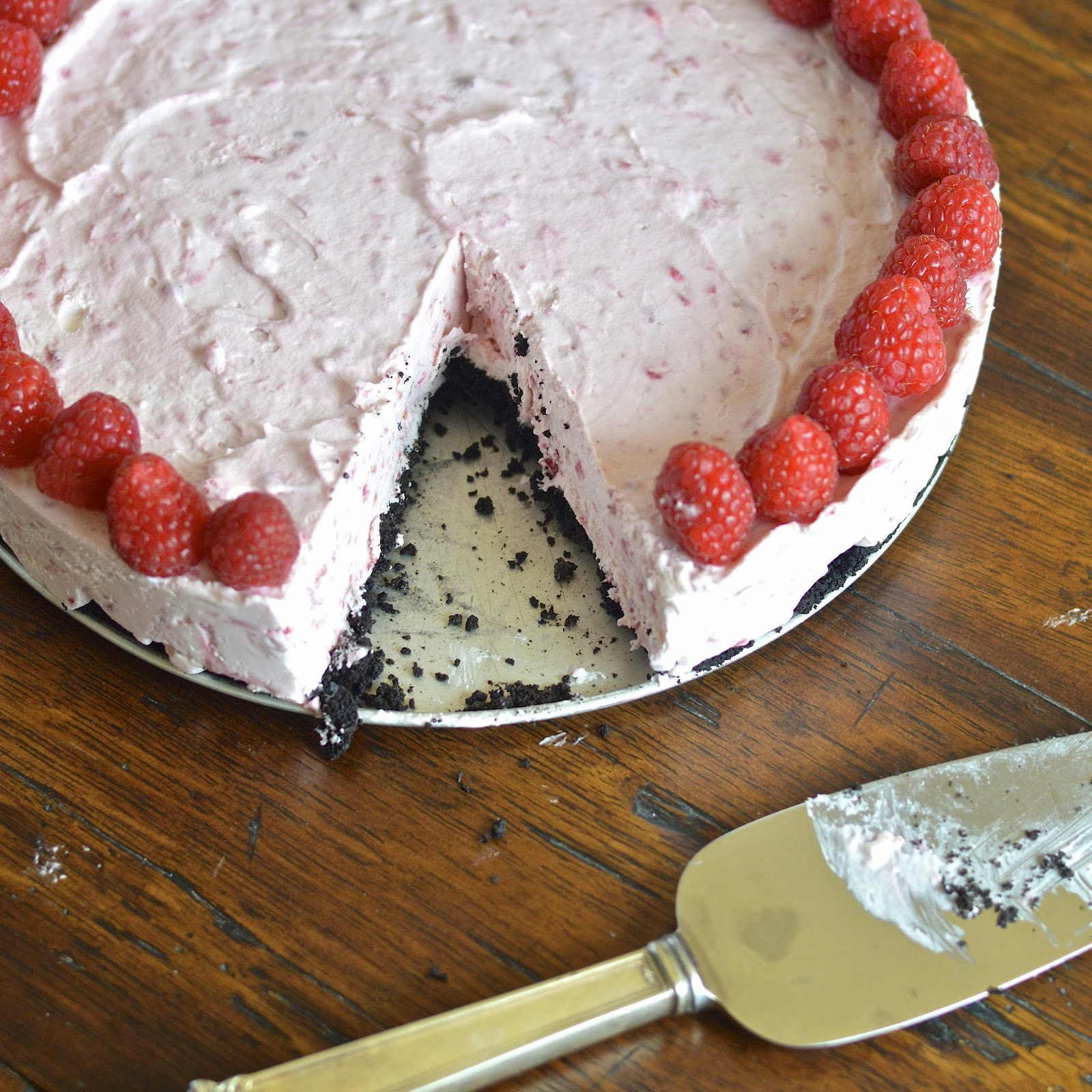 This frozen raspberry cheesecake is easy and decadent.