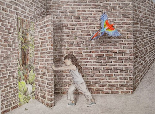 surreal composition with parrot in colored pencil