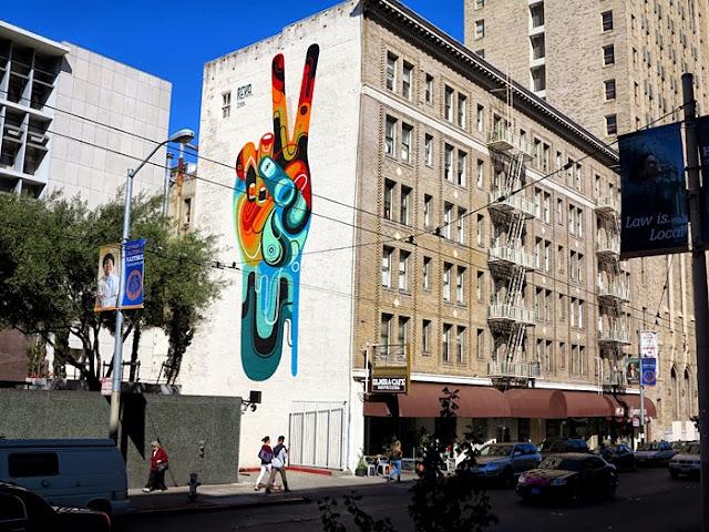 """Peace, Man"" New Street Art Mural By Australian Artist REKA in San Francisco, USA 1"