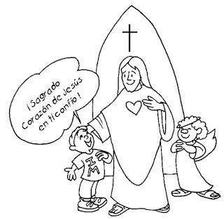 Sagrado corazón de Jesús en tí confío para colorear