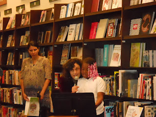 Lisa B and young poet reading from new anthology from Lisa B (Lisa Bernstein) blog