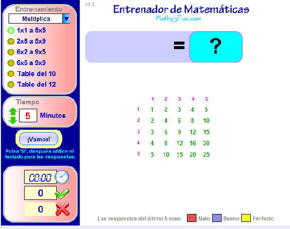 Entrenador de tablas de multiplicar