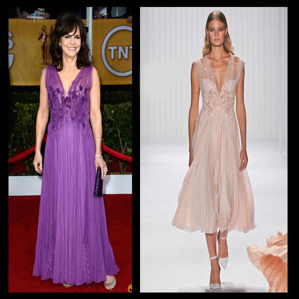 a filha do chefe Sally Field J Mendel vestido roxo SAG Awards 2013