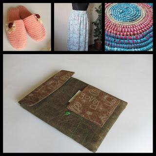 рукодельный коллаж, вязание, шитье, тапочки, чехол для планшета, коврик бабушкин